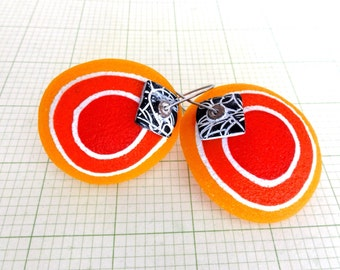 """Disk Earrings organic form, """"Yellow Submarine"""" by Marie Segal 2016, new earring concept and design"""