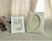 "Cottage Chic Frames for Wedding or Home Decor / 2 Easel Back Photo Frames for 4"" x 6"" and 3.5"" x 5"" Photos"