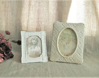 """Cottage Chic Frames for Wedding or Home Decor / 2 Easel Back Photo Frames for 4"""" x 6"""" and 3.5"""" x 5"""" Photos"""