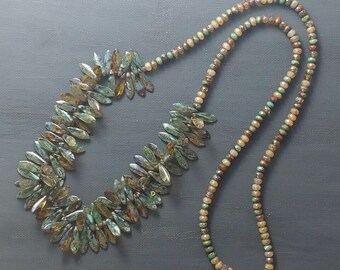Long Beaded Boho Necklace with Czech Glass Beads