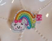 Sparkly Happy Rainbow Hair Clip Bow- Perfect Spring or Everyday Hair Clip- Rainbow Birthday Party Favor