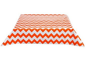 Rectangle Chevron Orange Oilcloth Tablecloth with Simple Hem