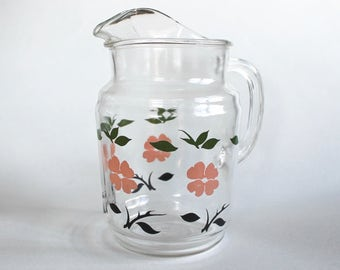 Vintage 1940s/1950s Glass Pitcher with Pink, Green, and Black Flower Design