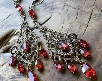 Red Swarovski crystal chandelier earrings, antique lace bohemian earrings, brass, gypsy, Victorian gypsy, boho chic