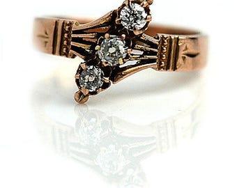Unique Engagement Ring Victorian Diamond Ring .50ctw 14K Rose Gold Victorian Engagement Ring Anniversary Ring Unique Mine Cut Diamond Ring!