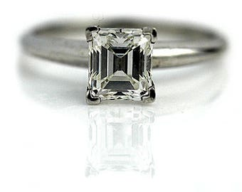 Asscher Cut Engagement Ring 1.20ctw GIA Asscher Cut Diamond Ring Solitaire Engagement Ring 14K White Gold 1980s Vintage Asscher Cut Ring!