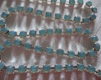 3mm Aqua Blue Opal Rhinestone Chain - Silver Plated Setting - Czech Crystals