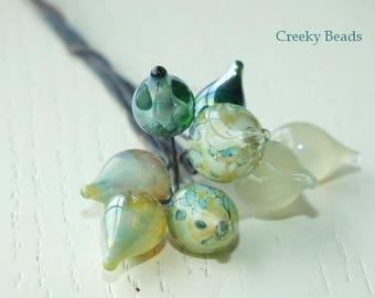 Handmade Lampwork Head Pins - Greens! - Creeky Beads SRA