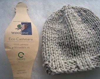 Eco Cashmere baby hat Knit Beanie Baby hat Cashmere 100% newborn hat made in Italy Natural Newborn baby hat Photo prop Eco cashmere Handmade