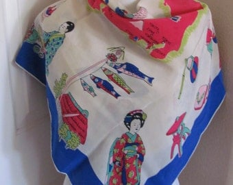 """Beautiful Vintage White Blue Map of Japan Large Silk Scarf  // 35"""" Inch 90cm Square // Best of the Best"""