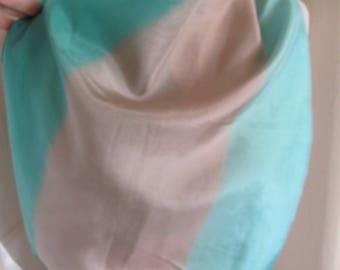 "Green Gray Vintage Silk Scarf // 17"" x 44"" Long"