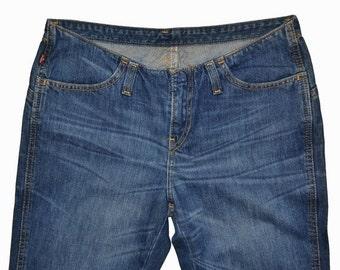 ON SALE Vintage Womens LEVIS Coaster Bootcut Jeans 25x32 Low Waist Used Dark Blue Cotton Denim