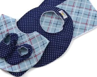 Baby Bundle - Navy Dot & All-Star Plaid - Great Value, Handmade Baby Gift, New Baby, Baby Boy, Bibs