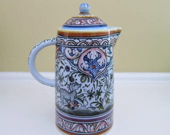 Coimbra Pottery Coffee Pot/Server Hand Painted Portuguese
