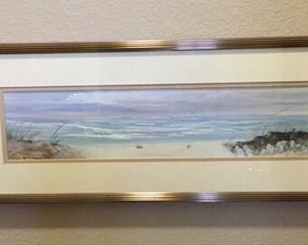 Framed Original Watercolor Seaside Beach Painting