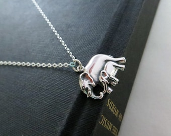 Mama and baby elephant necklace, mother necklace, mom and son, family jewelry, gift