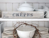 RESERVED 4 Lisa A..French CREPES no2..Kitchen, Heavy crate slats wood, vintage salvage, Counter, tabletop,Wall sign French, Nordic Farmhouse
