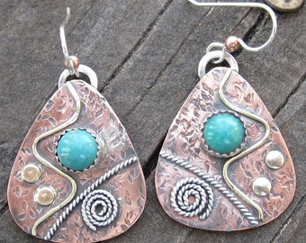 Turquoise Sterling Silver, Brass and Copper Mixed Metal Earrings
