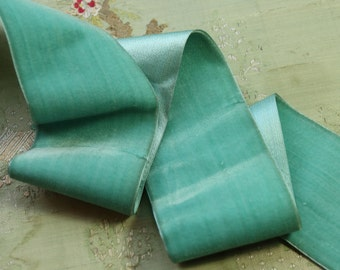 "1.3 yards antique wide vintage French silk velvet satin ribbon 2 11/16""  ribbonwork  flapper trim  aqua green shade  wide millinery"