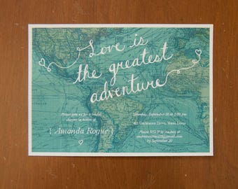 Love is the greatest adventure digital instant download bridal shower invitations map travel