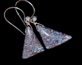 LP 1384 Beautiful, Blue And Lavender, Agatized Dinosaur Bone Polished Triangle Earrings