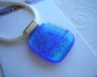 Dichroic Glass Necklace Beautiful Blue-Green Kiln Fused Glass Deep Blue Pendant Mesh Choker Women's Jewelry Iridescent Colors Home Crafted