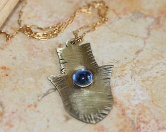Tiny Brass Hamsa Pendant ,Brass Pendant , Blue Glass Hamsa, Hammered Brass Hamsa Necklace ,Brass Pendant, Good Luck Jewelry, Brass Jewelry,