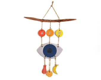 Ceramic Mystic Eye Trio Hanging with Whittled Wooden Bar