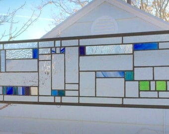 "Prairie School Style Blue & Green Geometric--8"" x  36""--Stained Glass Window Panel"