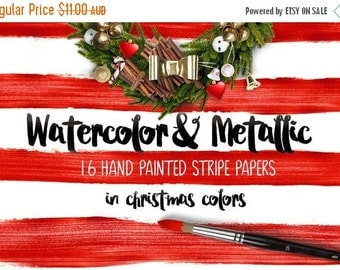 80% Off SALE Digital paper, Watercolor & Metallic Stripes - 16 digital pattern backgrounds