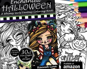 Enchanted Halloween Coloring Book Adult All Ages Fantasy Coloring Pages Mermaid Fairy Art by Hannah Lynn