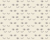 Cream and Charcoal Eye Jersey Knit Fabric, Hello Ollie by Bonnie Christine by Art Gallery Fabric, Meadow Dreams Pure, 1 Yard Jersey Knit