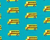 Aqua Blue Yellow and Red School Bus Organic Cotton Interlock Knit, Sidewalk by Rae Hoekstra for Cloud 9 Fabrics, 1 Yard