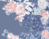 Blue Coral and White Floral Jersey Knit Fabric, InBlue by Katarina Roccella for Art Gallery Fabrics, Bloesem Dark, 1 Yard