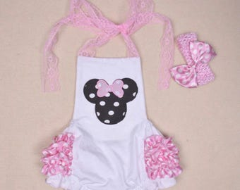 MINNIE MOUSE inspired ROMPER, First Birthday, with matching headband