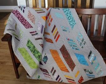 Handmade Quilt - Throw Quilt - Lap Quilt -  Herringbone - Contemporary Quilt - Modern Quilt - Feathers - Homemade - Cotton