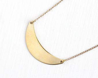 Vintage Gold Washed Sterling Silver Crescent Moon Modernist Pendant Necklace - Retro 1960s Dainty Chain Luna Celestial Statement Jewelry