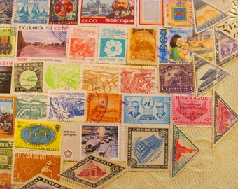 Isthmus Be Love 50 Vintage Nicaraguan Postage Stamps Republic of Nicaragua Central America Managua Hispanic Latina Latin American Philately