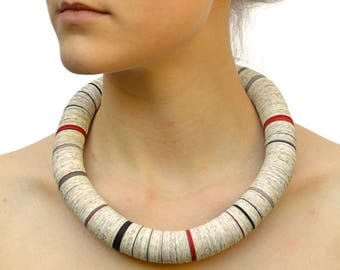 Paper necklace from book pages with red gray black stripes - made to order