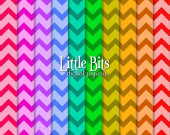 Rainbow Chevron Digital Paper - Personal and Commercial Use - JPG Files - Instant Download