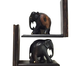 Vintage PAIR Solid Ebony Elephant Bookends