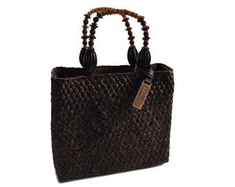 Vintage Anne Klein Woven Straw Handbag Purse with Beaded Handles - Chocolate Brown with Original Wood Tag - Hip Vintage