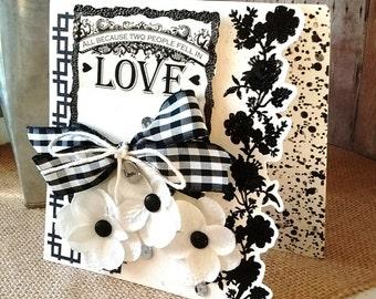 Monochrome Wedding / Anniversary Card - Black and White Wedding - ART CARD - Classy Silhouette Cutout Detail