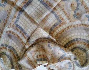 Roman Mosaic Silk Scarf Liz Claiborne design beige
