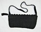 "Vintage 30's 40's Black Cord Crochet Handbag Purse - 12 1/2"" W x 7 1/2"" H"