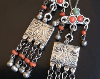 Vintage UZBEK earrings silver dangle gold  coral asian kuchi nomad pashtun turquoise