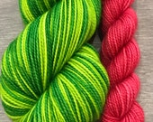 How the Grinch Stole Christmas 2 color stripe with contrast... Canon Hand Dyes Charles Self Striping Superwash Sock Yarn