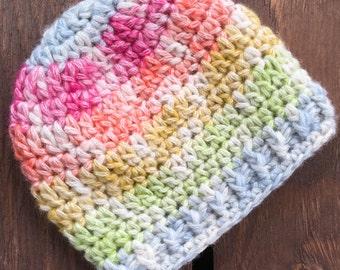Rainbow Baby, Crochet Baby Hat, Newborn Rainbow Baby Hat, Baby Hat, Infant Hat, Baby Beanie, Baby Girl,  Multi-Colored Crochet Infant Hat