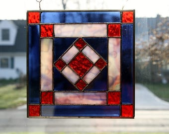 Stained Glass Sun Catcher Amish Patch Quilt Block