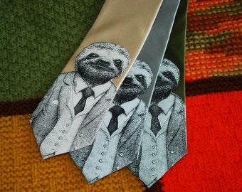 Stylish Sloth Necktie ‑ SILK Men's Sloth Tie ‑ Brother Gift ‑ Groomsman Necktie ‑ Neck Tie - Men's Gift - Sloth Tie